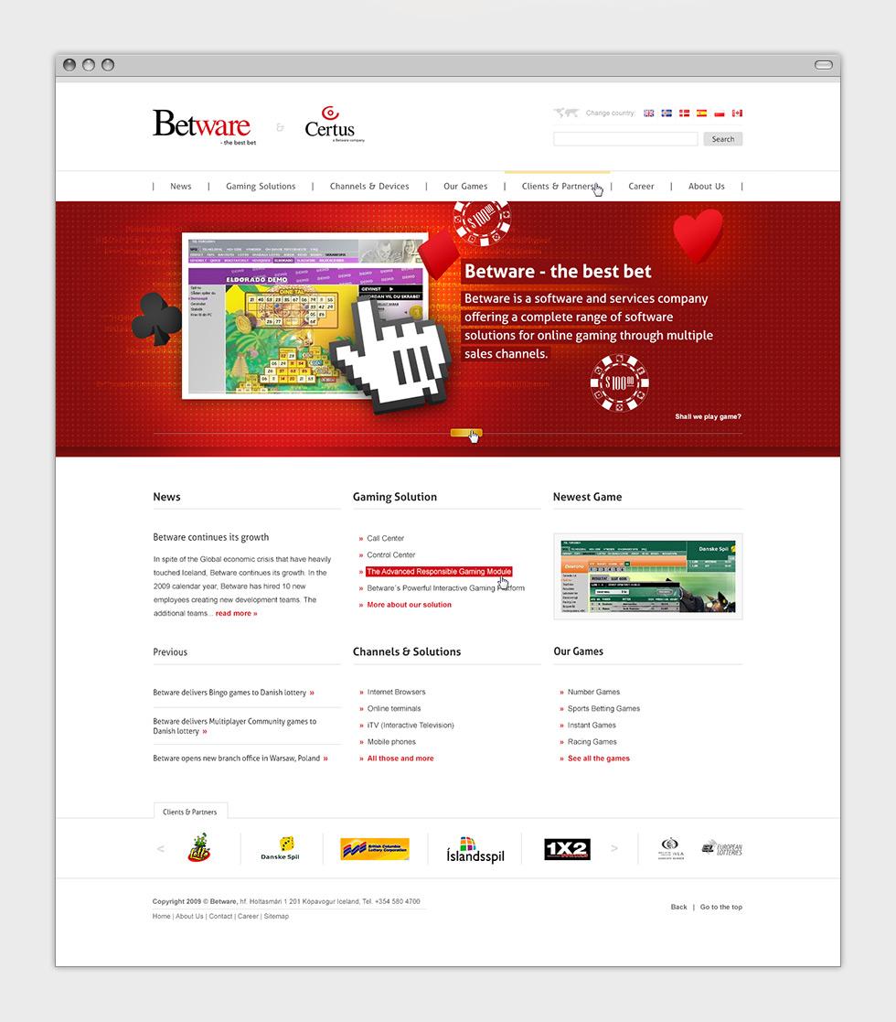 Propozycja strony internetowej dla firmy Betware zajmującej się tworzeniem gier online - strona główna