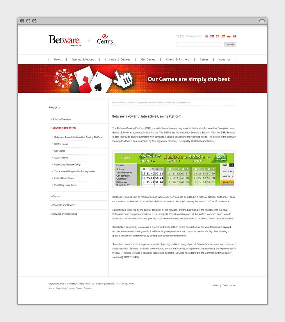 Propozycja strony internetowej dla firmy Betware zajmującej się tworzeniem gier online - podstrona