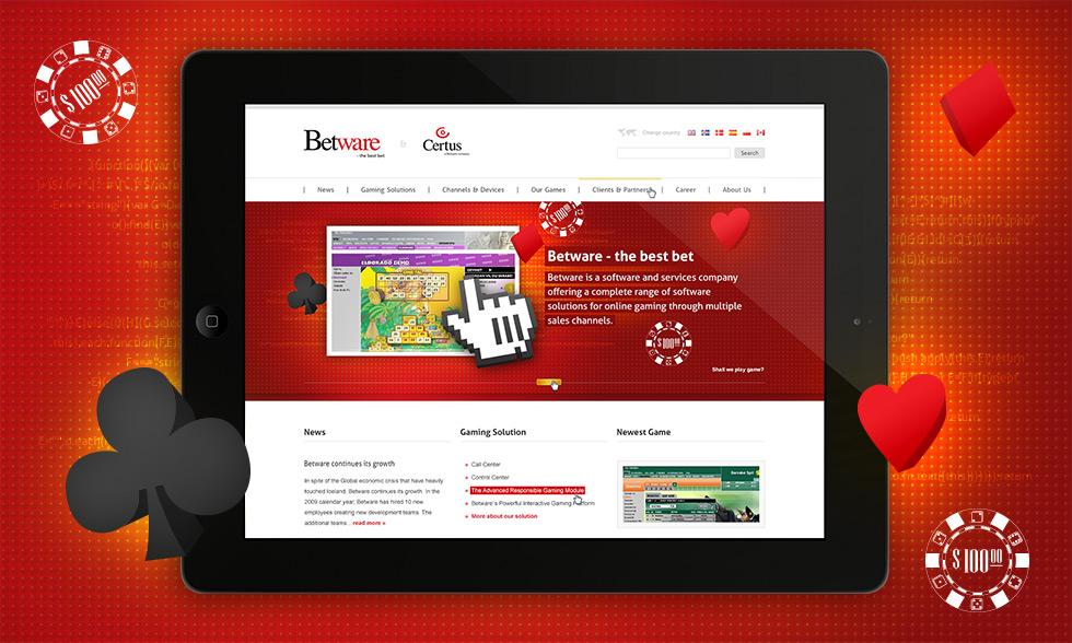 Propozycja strony internetowej dla firmy Betware zajmującej się tworzeniem gier online
