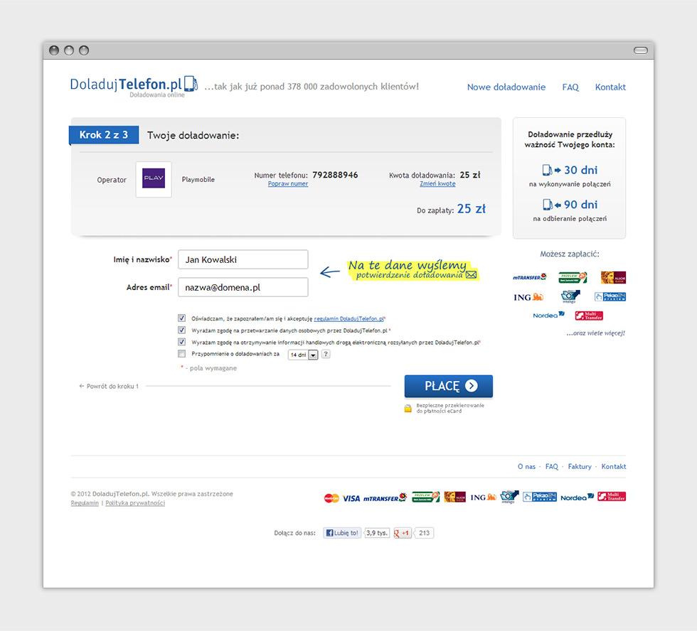 DoladujTelefon.pl strona internetowa z doładowaniami online - drugi krok koszyka.
