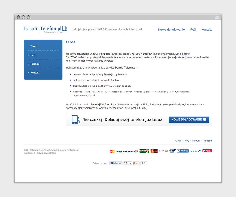DoladujTelefon.pl strona internetowa z doładowaniami online - podstrona.