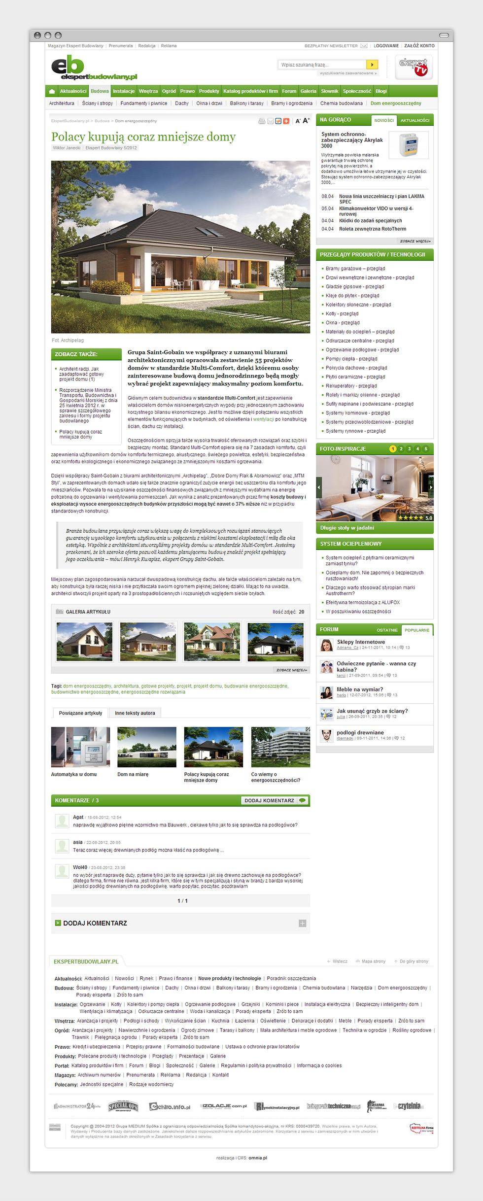 """Portal internetowy magazynu budowlanego """"Ekspert Budowlany"""". Podstrona artykułu."""