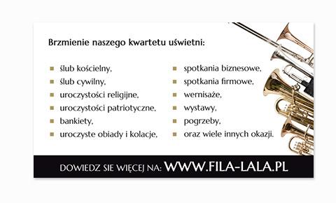 Wizytówka dętego zespołu okolicznościowego Fila-lala