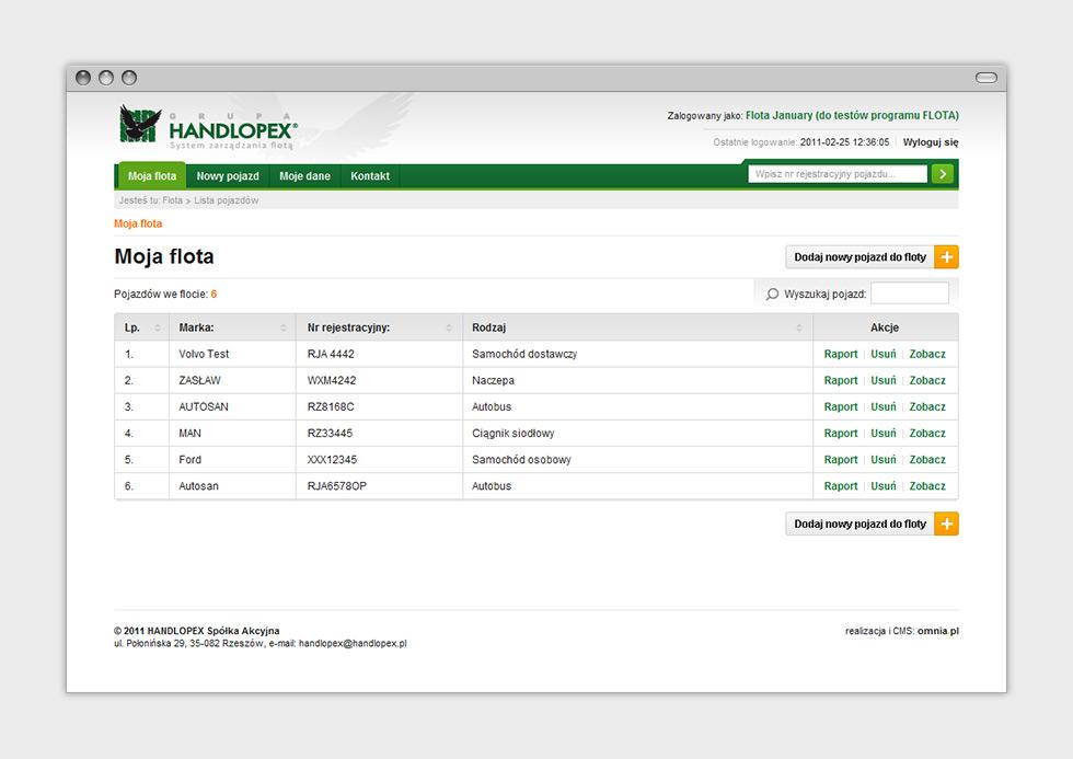Floty Handlopex projekt aplikacji dedykowanej do zarządzania oponami klientów - zarządzanie pojazdami.