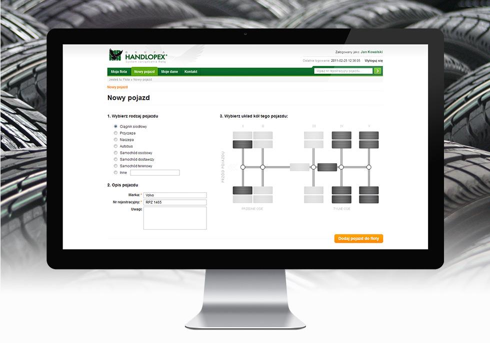 Floty Handlopex projekt aplikacji dedykowanej do zarządzania oponami klientów.