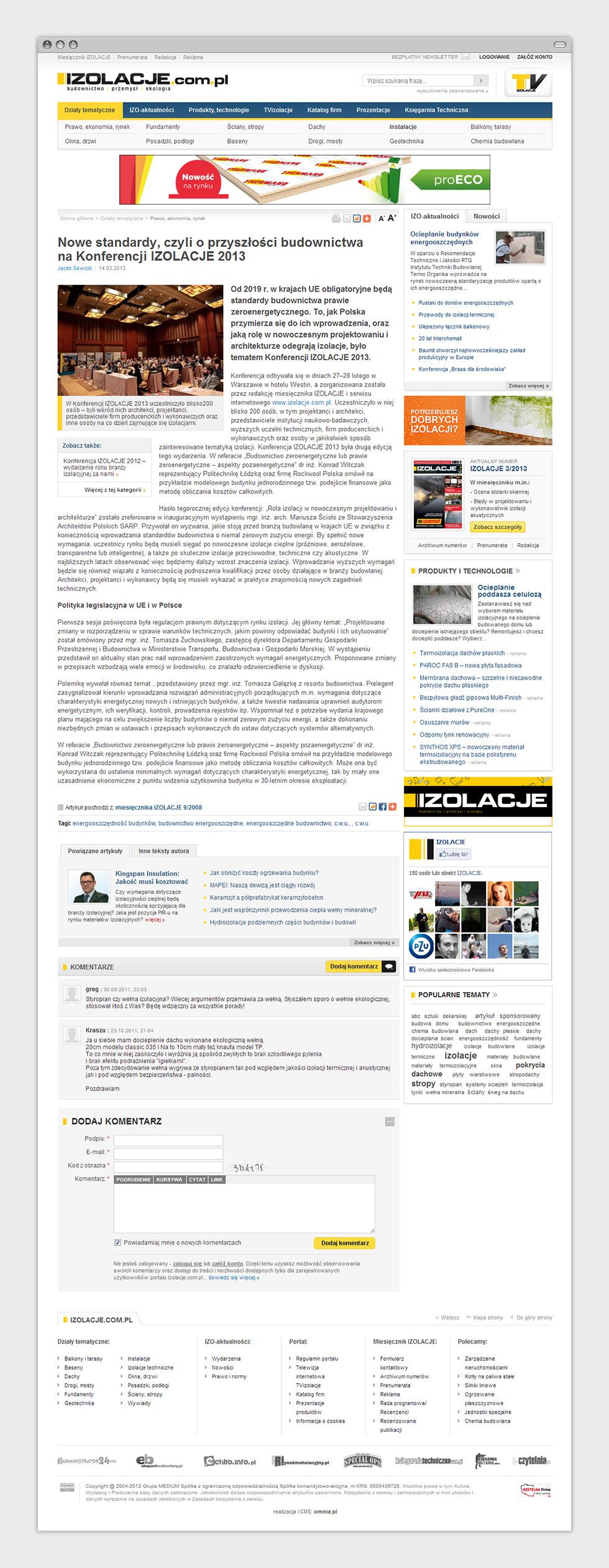 Portal internetowy miesięcznika budowlanego Izolacje. Podstrona artykułu.