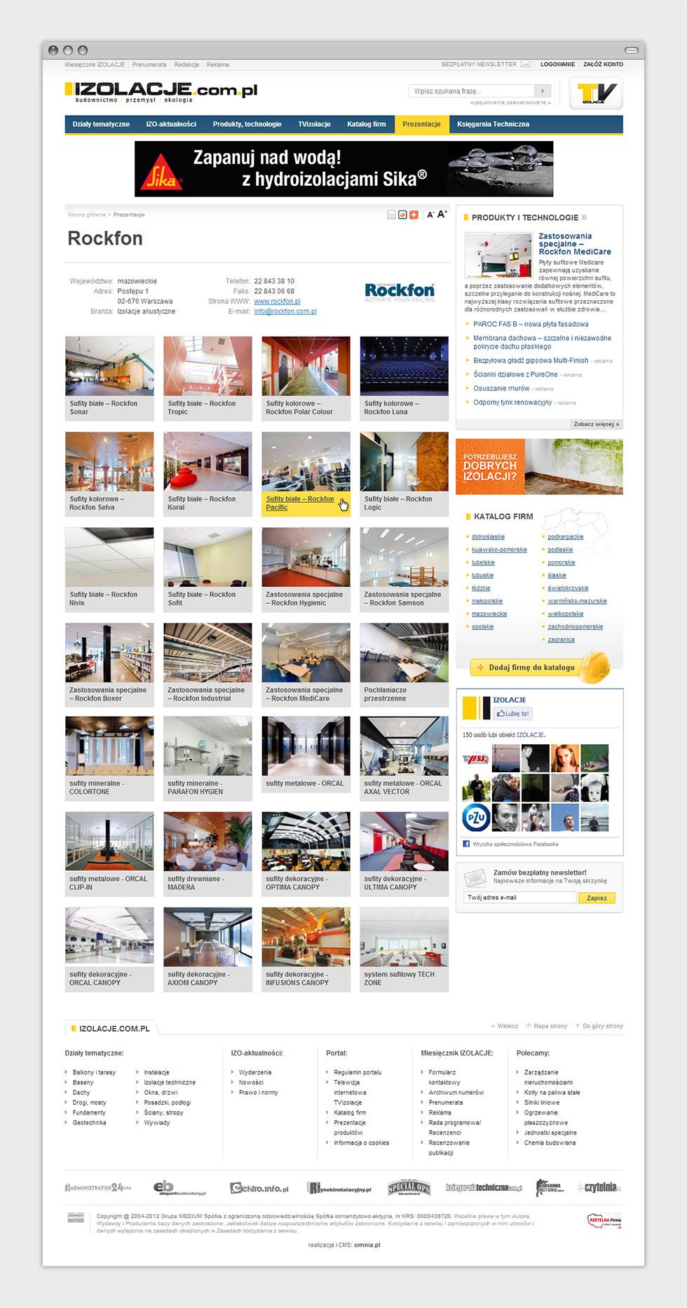 Portal internetowy miesięcznika budowlanego Izolacje. Podstrona prezentacji produktów sponsorowanych.