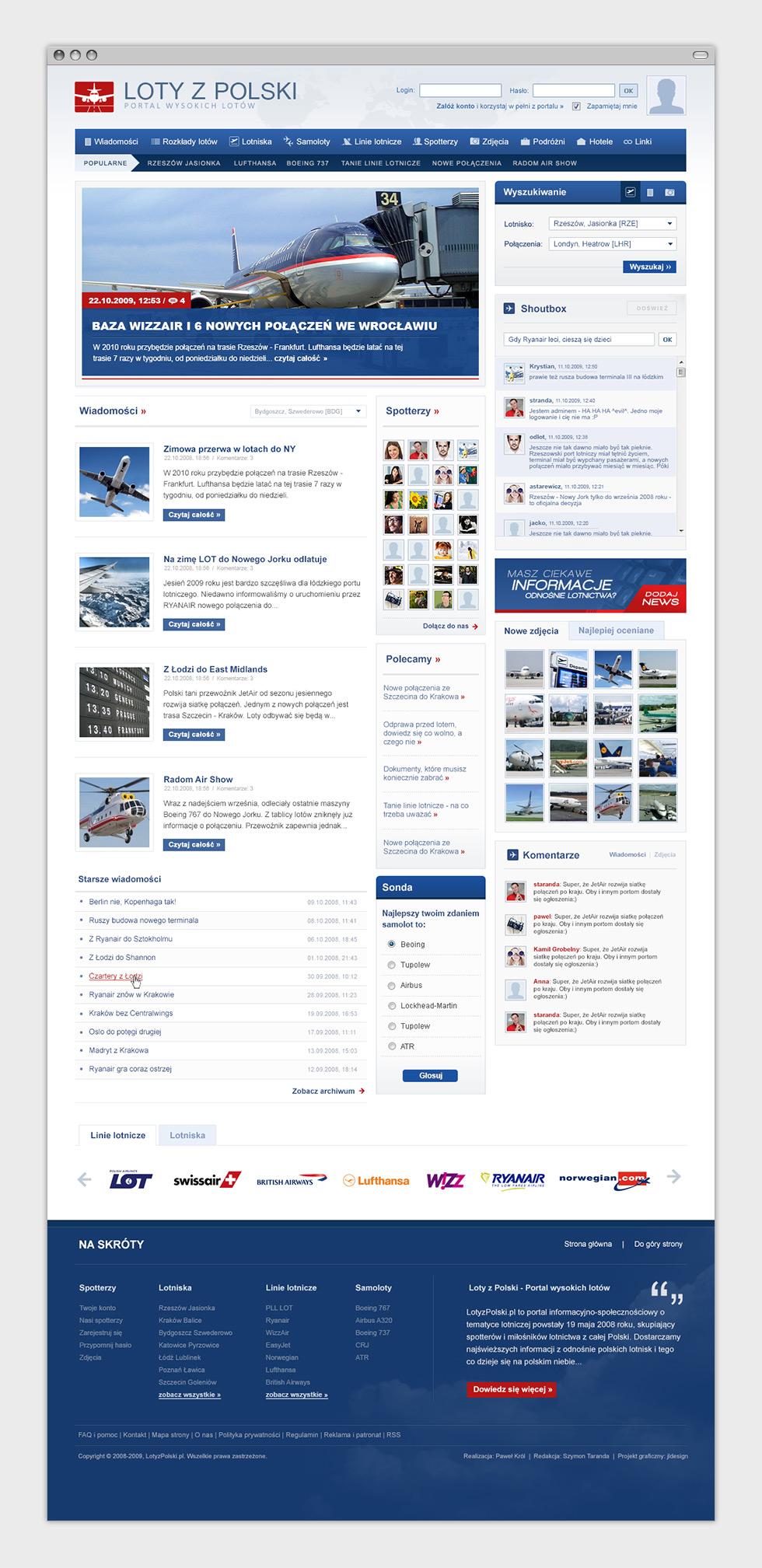 Loty z Polski - portal internetowy dla spotterów i miłośników lotnictwa. Strona główna.
