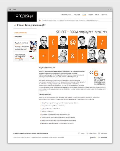 Strona internetowa agencji interaktywnej omnia.pl - o firmie.