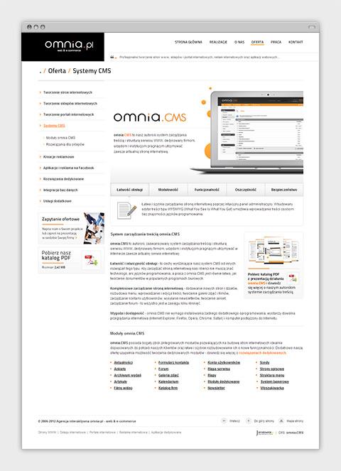 Strona internetowa agencji interaktywnej omnia.pl - opis oferty.