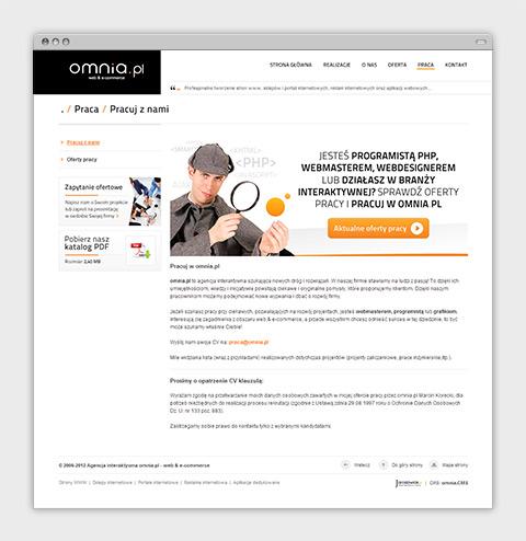 Strona internetowa agencji interaktywnej omnia.pl - oferty pracy.