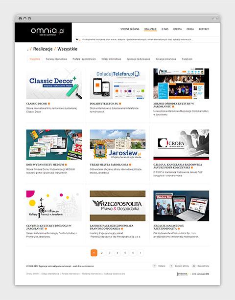 Strona internetowa agencji interaktywnej omnia.pl - lista realizacji.