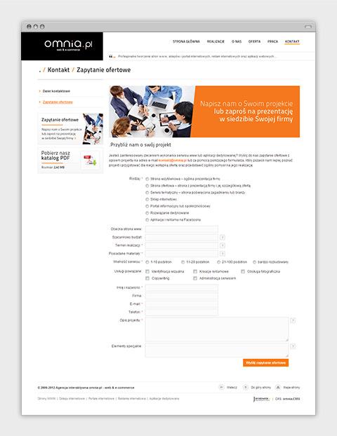 Strona internetowa agencji interaktywnej omnia.pl - formularz zapytania ofertowego.