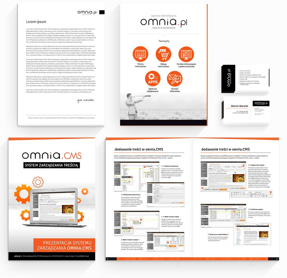 Projekt papieru firmowego, teczki, wizytówek oraz folderów promocyjnych dla agencji interaktywnej omnia.pl.