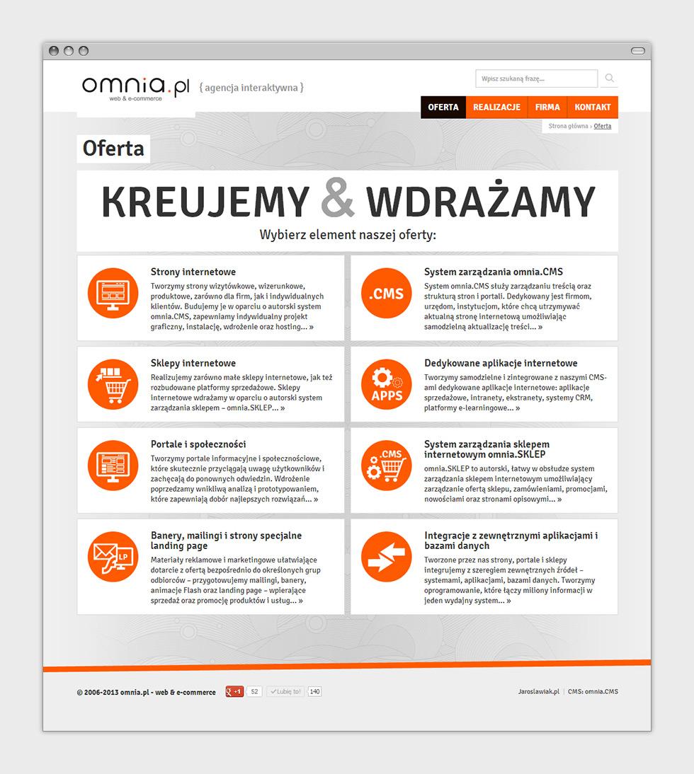 Odświeżenie strony internetowej agencji interaktywnej omnia.pl. Podstrona oferty.