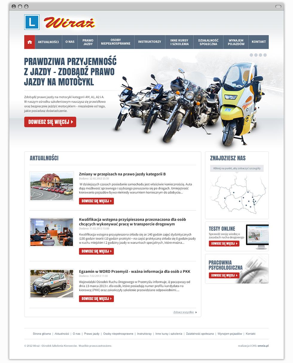 """Strona internetowa Ośrodka Szkolenia Kierowców """"Wiraż"""" - strona główna."""