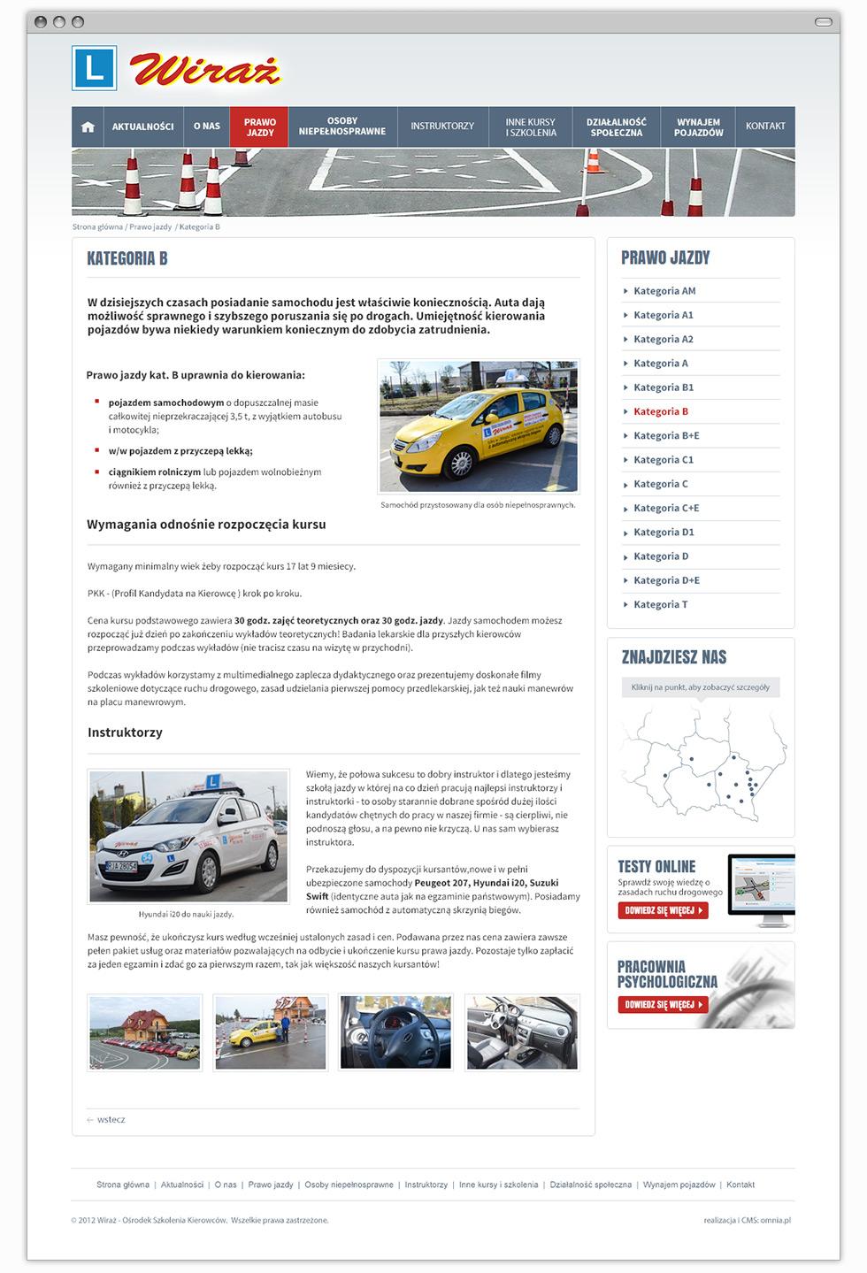 """Strona internetowa Ośrodka Szkolenia Kierowców """"Wiraż""""  - podstrona."""