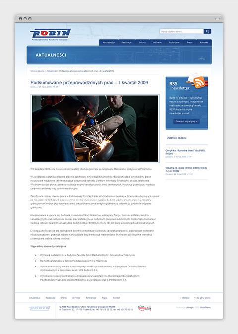 Strona internetowa P.H.U. Robin zajmującego się wykonawstwem instalacji sanitarnych oraz usługami budowlanymi. Podstrona aktualności.