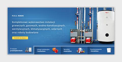 Strona internetowa P.H.U. Robin zajmującego się wykonawstwem instalacji sanitarnych oraz usługami budowlanymi. Animacja flash.