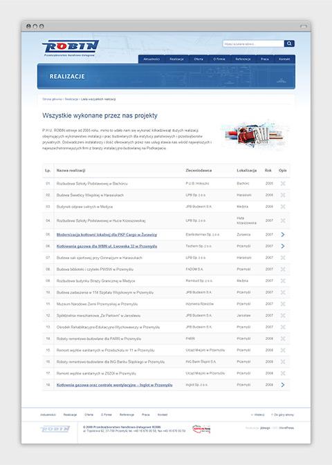 Strona internetowa P.H.U. Robin zajmującego się wykonawstwem instalacji sanitarnych oraz usługami budowlanymi. Tabela zrealizowanych projektów.