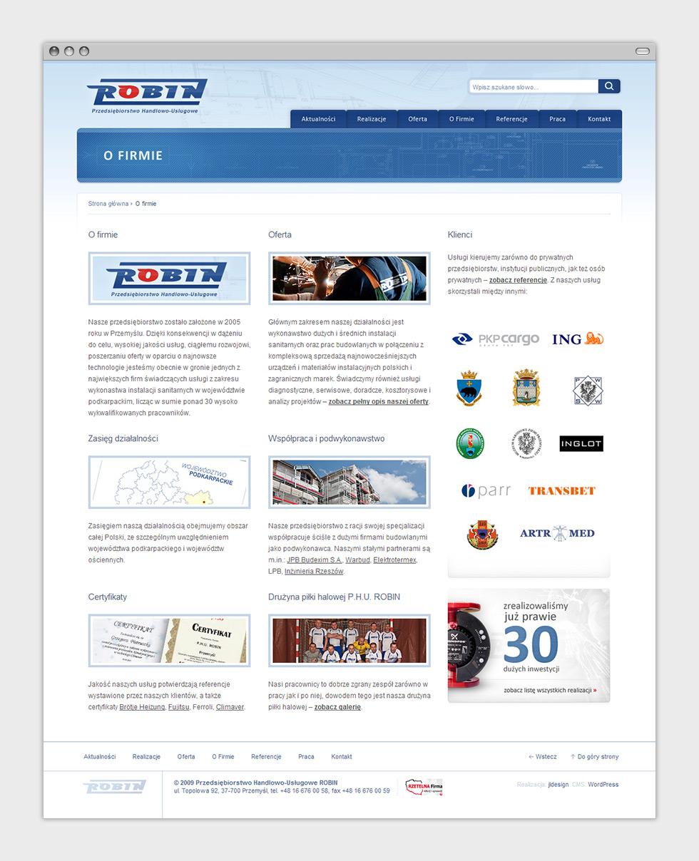 Strona internetowa P.H.U. Robin zajmującego się wykonawstwem instalacji sanitarnych oraz usługami budowlanymi. Podstrona o firmie.