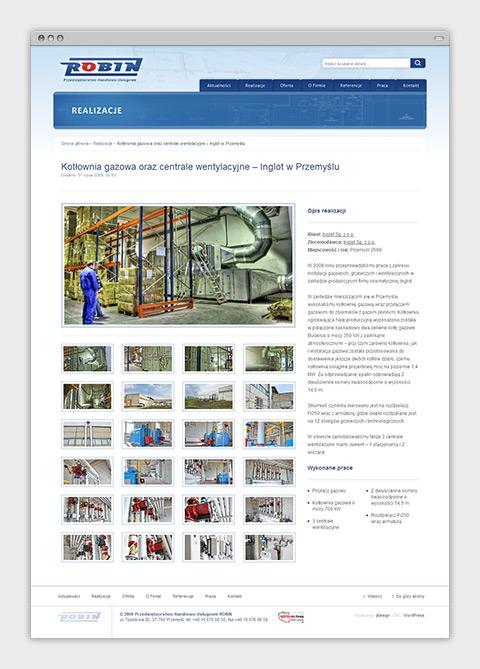 Strona internetowa P.H.U. Robin zajmującego się wykonawstwem instalacji sanitarnych oraz usługami budowlanymi. Opis realizacji.