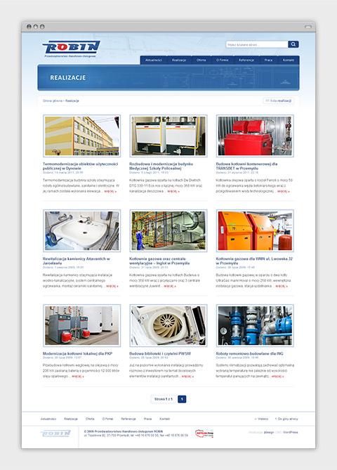 Strona internetowa P.H.U. Robin zajmującego się wykonawstwem instalacji sanitarnych oraz usługami budowlanymi. Lista realizacji.