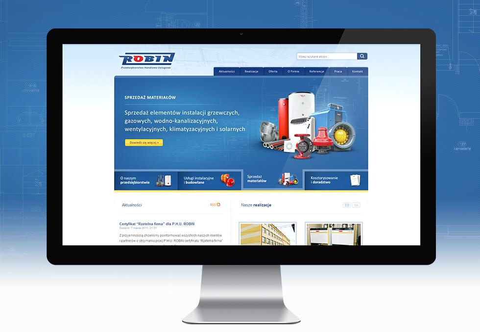 Strona internetowa P.H.U. Robin zajmującego się wykonawstwem instalacji sanitarnych oraz usługami budowlanymi.