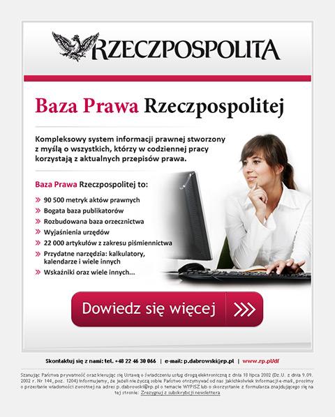 """Rzeczpospolita - Mailing promujący zakup dostępu do """"Bazy Prawa Rzeczpospolitej""""."""