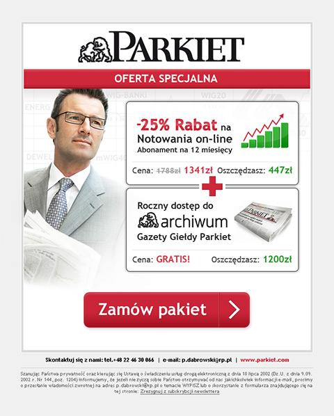 Gazeta Giełdy Parkiet  - Mailing promujący zakup dostępu do archiwum.