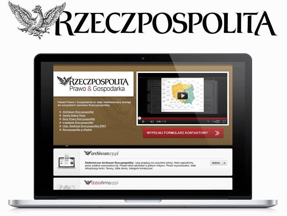 """Rzeczpospolita - Kampania promująca zakup pakietu """"Prawo&Gospodarka""""."""