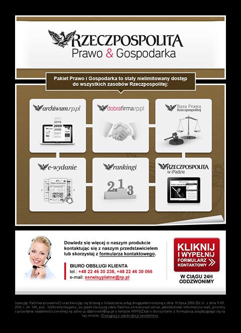 """Rzeczpospolita - Mailing  promujący zakup pakietu """"Prawo&Gospodarka""""."""