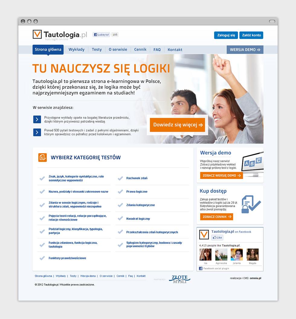 Tautologia.pl - internetowy serwis e-learningowy. Strona główna.