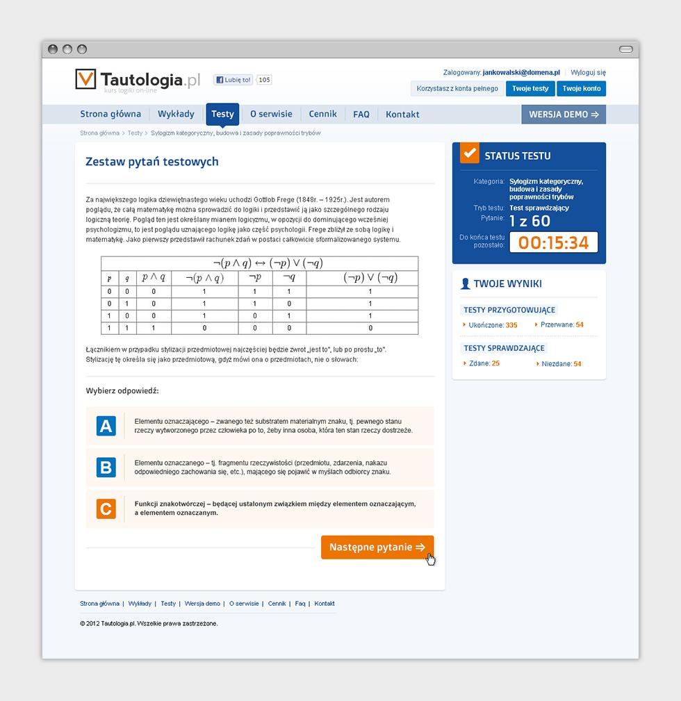 Tautologia.pl - internetowy serwis e-learningowy. Rozwiązywanie testów.