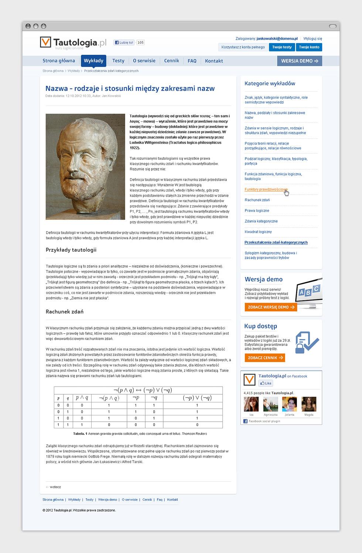 Tautologia.pl - internetowy serwis e-learningowy. Wykład.