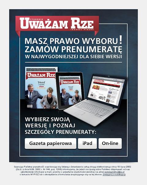 Uważam Rze - Mailing promujący prenumeratę czasopisma.
