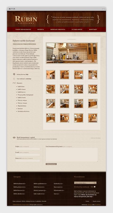 Strona internetowa zakładu stolarskiego Grzegorza Rubina - opis zrealizowanego projektu