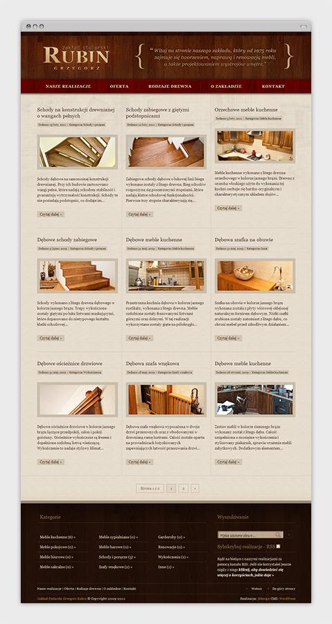 Strona internetowa zakładu stolarskiego Grzegorza Rubina - lista wykonanych realizacji